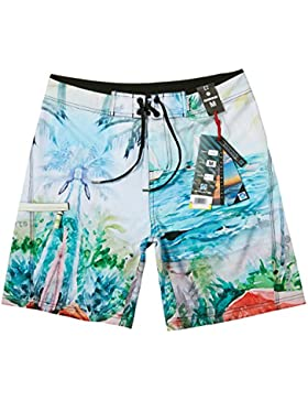 HAIYOUVK Limited Oil Painting Landscape Printing Male Holiday Beach Shorts Loose Large Diamond Shorts L,L,Seascape...