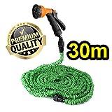 Flexibler *Premium*~**Magic** Cudi Wasserschlauch 30m~Flexi Gartenschlauch Set~Dehnbar~ inkl. Sprühpistole mit 8 Vers. Sprühfunktionen~100 FT