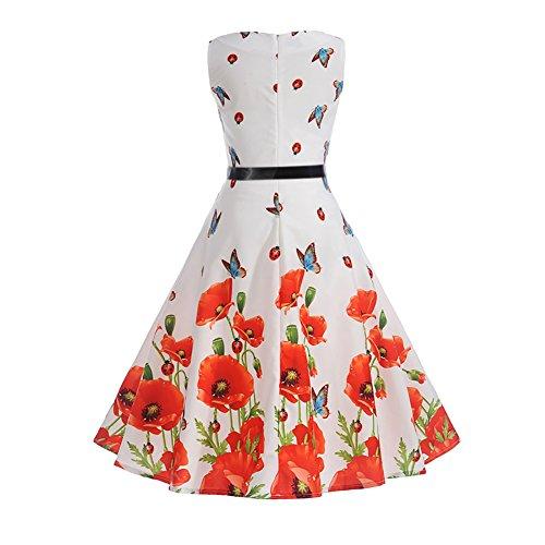 iBaste Damen 50s Retro Vintage Rockabilly Kleid Partykleider Cocktailkleid Swing Blumen 2