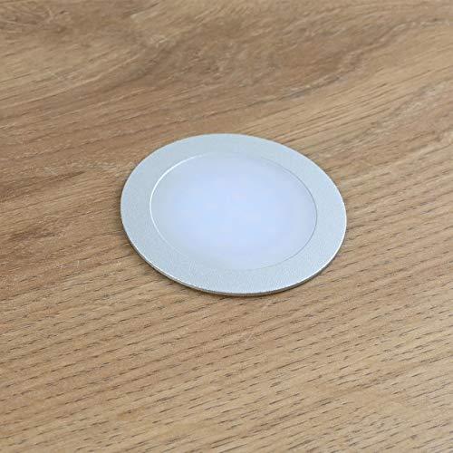 Einbauleuchte extra flach (12 mm Einbautiefe) Aluminium eloxiert matt warm-weiß 0,9W Dimmbar 12V IP67 für Wand, Boden und Decke (rund) ()