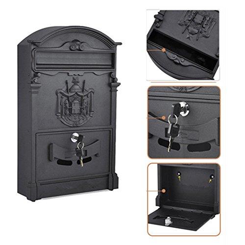 Europäischen klassischen Villa Mailbox Pastoral Retro Wand Briefkasten Wasserdicht Outdoor Mailbox mit Schloss Barock Sandy white - 2
