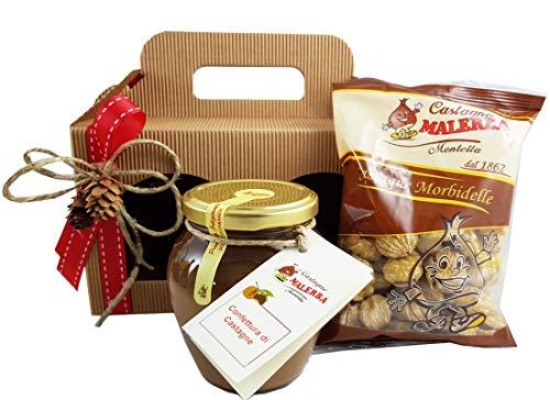 Cesto regalo castagne sgusciate morbidelle + confettura malerba kit6