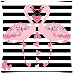 Dana34MaloryPillowcases - Fundas de Almohada, diseño de Rayas Blancas y Negras, Dos flamencos Rosas con Cremallera, 40 x 40 cm, Funda de Almohada, Funda de Almohada Decorativa