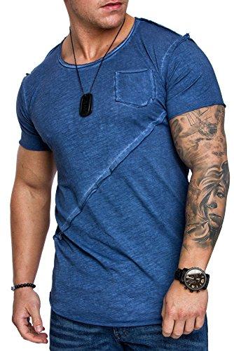 Amaci&Sons Oversize Herren Vintage T-Shirt Verwaschen Crew Neck Rundhals Basic Shirt 6002
