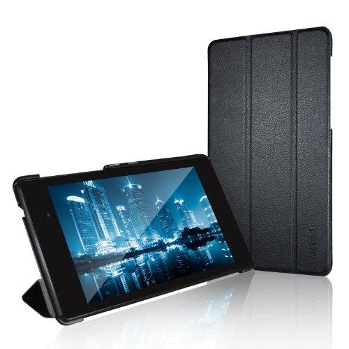 JETech® GOLD Slim Fit Nexus 7 Hülle Schutzhülle Etui Tasche mit Ständer Funktion und Eingebautem Magnet für Einschlaf/Aufwach für Google Nexus 7 2013 Tablet (Schwarz) (Nexus 7 Google Tablet)