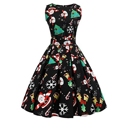 VENMO Frau Weihnachtskleid Print Pin Up Swing Spitze dress reizvolle Retro Ärmellos Rockabilly Weihnachtsmann Schneemann Festlich Kleid Swing Kleid Partykleid Cocktailkleid Knielang (Sexy Black, (Sexy Kostüme Glocke)