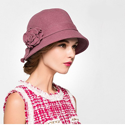 Maitose™ De la femme laine en feutre Fleurs Eglise Bowler Hats Rose