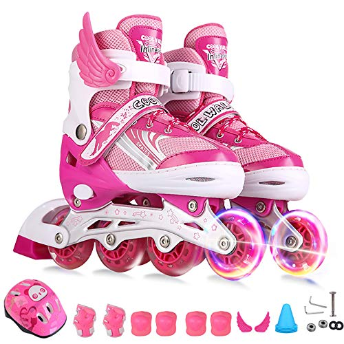 GZH Inlineskates Kinder Verstellbar Jungen Und Mädchen Vorderrad Blinkende Skates Komplettset Rollschuhe Anfänger,Pink-L