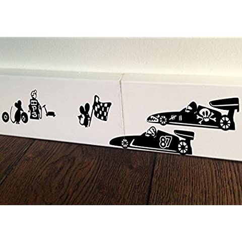 Ratón Agujero Pegatinas de Live–Adhesivo decorativo para pared de bandera de coche de Fórmula 1Racing Kids base rodapié Pájaros