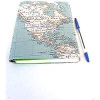 Cuaderno de viajes funda de agenda 2019 con tela mapa mundi regalo para usar como diario block de notas libreta planificador anual Regalo original navidad unisex