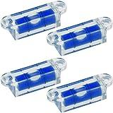 4x Smartfox Mini Wasserwaage horizontal mit Schraubbefestigung aus robustem Acryl mit blauer Flüssigkeit