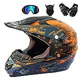 MRDEER Adult Off Road Helm Motocross Helm Unisex Motorradhelm Cross Helme Schutzhelm ATV Helm für Männer Damen Sicherheit Schutz, mit Handschuhe Maske Brille,Orange,M
