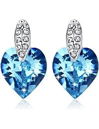 GoSparking color aguamarina azules cristalinos del corazón del oro blanco 18K plateó los pendientes de la aleación con el cristal austriaco para las mujeres