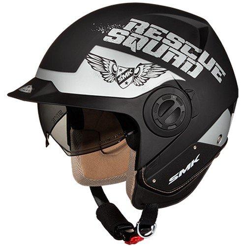 SMK MA260 Derby Rescue Graphics Open Face Helmet (Matt black with Grey, L)