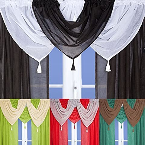 Linen Effect Voile Swag With Tassel (White) by John Aird
