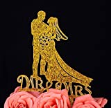 Braut und Bräutigam Paar Silhouette Herr Frau Hochzeit Verlobungsring Kuchen Dekoration Topper (6, Gold Glitzer)