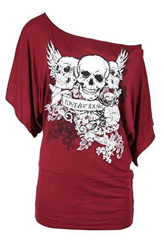 Be Jealous - T-Shirt Sur Épaule Imprimé Tête de Mort Manches Longues Chauve-Souris pour Femme Bordeaux