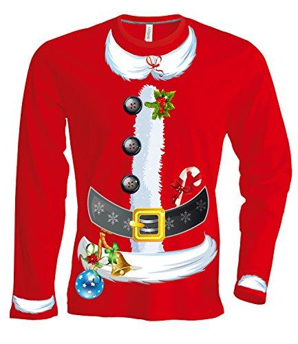 Artdiktat Herren Langarm T-Shirt Santa Claus Weihnachtsmann Kostüm Kombiset mit Mütze Digitaldruck, Größe XL, rot