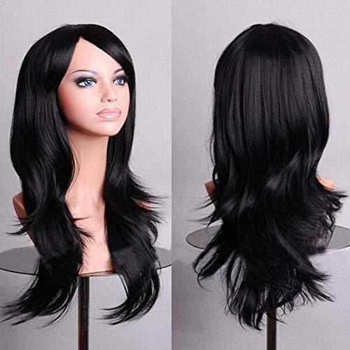 (MMMENG 70Cm Wellenförmige Rote Perücken Gefälschte Haarteile Kunsthaar Schwarz Lila Rosa Blau Cosplay Perücke Für Frauen)