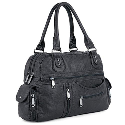UTO , Damen Henkeltasche grau grau (Purse Bag Tote Handtasche Handmade)