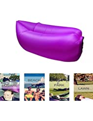 Hamaca tumbona sofá inflable con bolsa de transporte aéreo sofá inflable cama piscina flotador para uso en interiores/al aire libre senderismo camping, playa, Parque, Patio trasero impermeable duradero, morado
