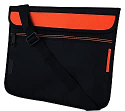 Ultra Slim Stylish Trendy and Water Proofed, Shock Proofed, Protective Laptop Pouch Bag Sleeve Carry Case Cover For 11 Inch ,11.6Inch Laptop With Horizontal (Orange) Removable Shoulder Strap, Extra Pocket, Black Suitable For HP / Acer / Sony / Asus / Lenovo / Fujitsu / Dell / Toshiba / I ball / Apple and All Brand Laptops - Saco