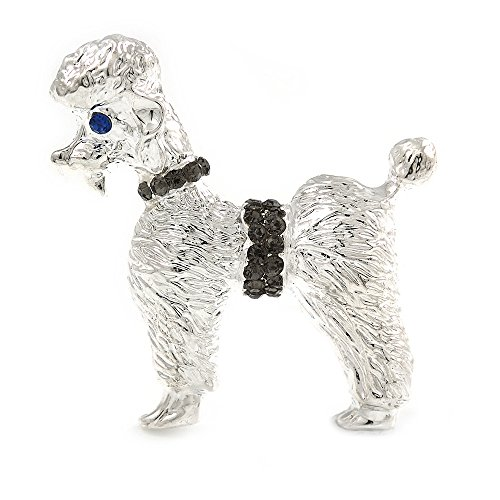 Unbekannt Silberton Silber Ton Strukturierte Grau Kristall Brosche Hund Pudel-35mm über