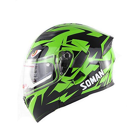 LBAFS Motorrad Helm Bluetooth Doppel Visier Flip Up Front Helm Mit Externen Stereo Bluetooth Headset Full Face Helm,Green-S