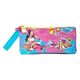 Estuche escolar Niña Soy Luna – Bolsa para lapices Disney – Practico estuche portatodo con cremallera para la escuela y de viaje – Fucsia – 10x21x8 cm – Perletti