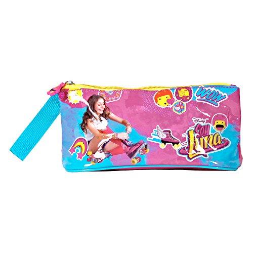 Perletti Etui Scolaire Fille Soy Luna - Trousse Enfant à Crayon avec Fermeture à Glissière pour l'école et de Voyage - Fuchsia - 10x21x8 cm