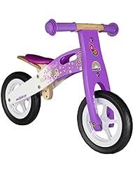 BIKESTAR® Original Premium Kinderlaufrad für kleine Abenteurer ab 2 Jahren ★ 10er Natur Holz Edition ★ Candy Lila & Traumhaft Weiß