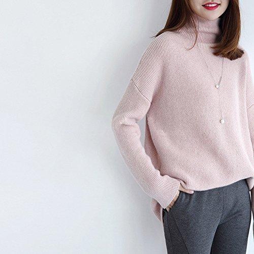 Pullover Lavorato a Maglia Addensato del Maglione del Cashmere del Collo Alto Casuale Delle Donne Rosa