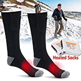 Chaussette électrique Thermique Chauffante Chauffe Pieds Rechargeable Isolation 5 Heures Durable Mallalah Chaufferette Compatible pour Ski Pêche Randonnée Camping Sock Sport (Noir)