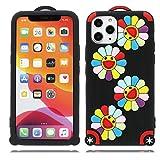 """YuanYuZhongPhoneSky iPhone 11 PRO Custodia, Elegante Pipistrello Fiore Nero 3D Stile Western Gel TPU Shell Skin Compatible con iPhone 11 PRO Copertura 5.8"""""""