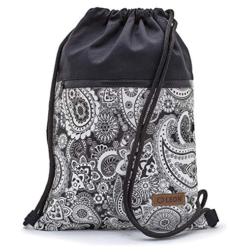 By-Bers LEON Tasche Turnbeutel Rucksack Sportbeutel Gym Bag Gymsack Hipster Fashion Schwarz Weiß (Paisley_SW_Zipper) (Paisley Schwarz Weiß &)