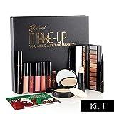12 Stück Make-up Kit Weihnachtsgeschenk Kosmetik Set, 6 Lipgloss + 1 Highlight + 1 Augenbrauenstift + 1 Eyeliner + 1 Mascara + 1 Puder + 1 Lidschatten (Kit 1)