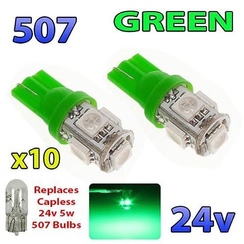 10x Vert 24V sans capuchon Hella spot 507501W5W 5SMD T10Wedge ampoules Camion de poids lourds