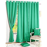 Story@Home Premium Blackout Solid (Pack of 4) Faux Silk Door Curtains (7ft) - Teal