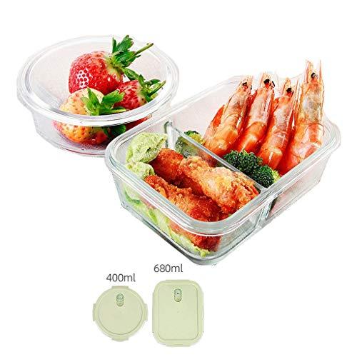 Brotdose Glas Bento Lunch Box Partition 2-teiliges Set Containertrennung Isoliert Auslaufsicher Tragbares Fach Mikrowelle Teen School Office MUMUJIN (Color : Green, Size : 400/860ML) (Office Glas Lunch-box)