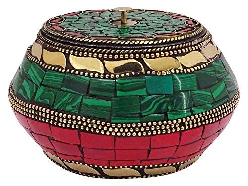 Handmade Mosaic Tiles Metal Jewelry Storage Gift Pot Home Table Decor