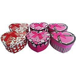 Caja regalo corazon PACK 6 . Cajitas ideales para regalos boda comunion mujer joyas hombre .Ideales para envolver regalos