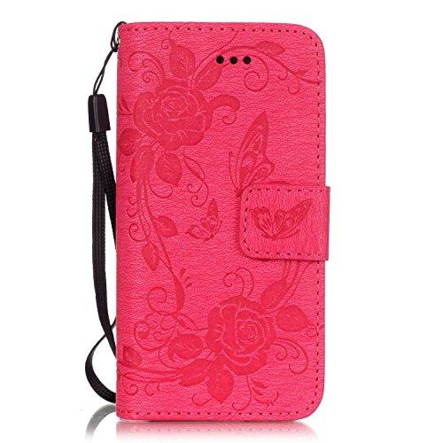 iPhone 5 Hülle,iPhone 5S Ledertasche,iPhone SE Case - Felfy PU Ledertasche Luxe Bookstyle Ledertasche Schutzhülle Vier Blätter Glücksklee Muster Flip Standfunktion Magnetverschluss Protection Shell Ca Rose Red