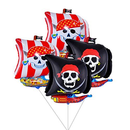 Yeahibaby 4pcs 26 'Barco Pirata Mylar Globos, Espada Cross Bones, Negro y Rojo