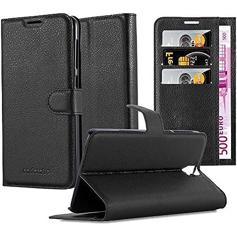 Cadorabo - Custodia Book Style Design Portafoglio per HTC ONE PLUS (E9) con Supporto Funzione e Vani di Carte - Etui Case Cover Involucro Bumper in NERO-CARBONE