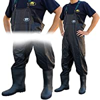Lineaeffe Black All Weather PVC Waterproof Carp Coarse Fishing Chest Waders/Wellies in Sizes 7 8 9 10 11 & 12 (UK Size 12 - EU Size 46)