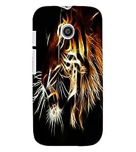 ColourCraft Tiger Look Design Back Case Cover for MOTOROLA MOTO E