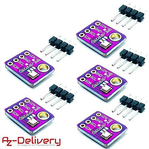 AZDelivery ⭐⭐⭐⭐⭐ 5 x GY-BME280 Barometrischer Sensor für Temperatur, Luftfeuchtigkeit und Luftdruck mit Gratis eBook! -