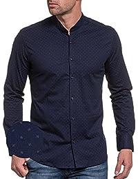 BLZ jeans - Chemise homme bleu navy à motifs col mao