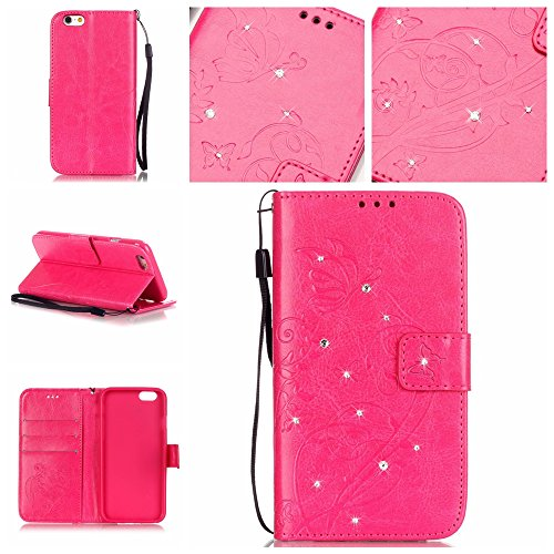 Coque Etui pour iPhone 6 6S (4,7 Pouces),iPhone 6 6S (4,7 Pouces) Lanyard Strap Coque Dragonne Carrying téléphone Etui,Cozy Hut Elegant Slim [Papillon Fleur Gaufré] Crystal Diamond Flip Case Leather W Rose Rouge