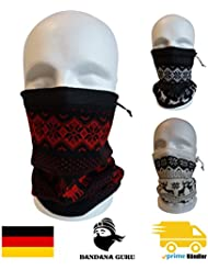 Bandana Guru Forro Polar redondo–Braga de cabeza,, en diseño noruego con cordón, perfecto como cortavientos,–Calentador de Cuello, toalla Manguera y gorro., rojo